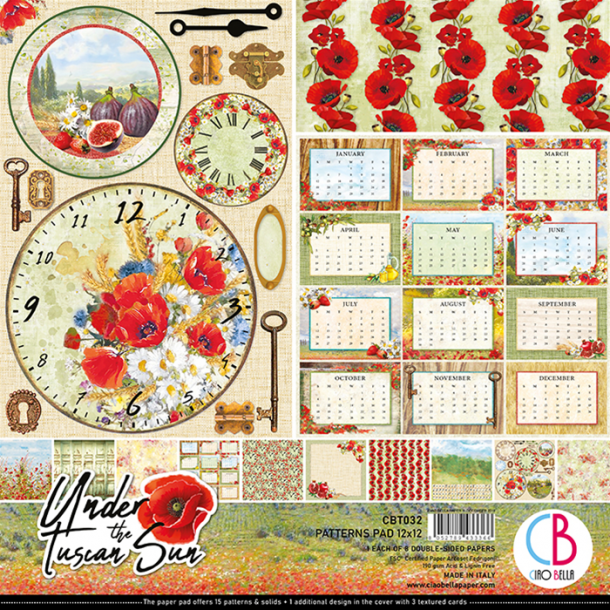 Ciao Bella Patterns Paper Pad 12x12 - CBT032 - Under the Tuscan Sun