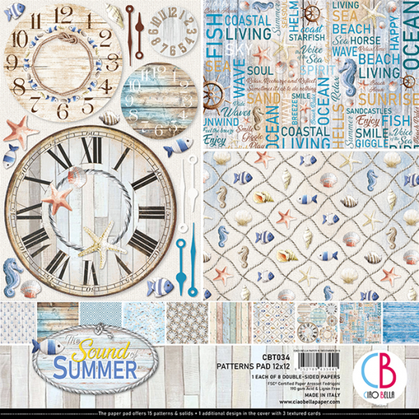 Ciao Bella Patterns Paper Pad 12x12 - CBT034 - Sound of Summer