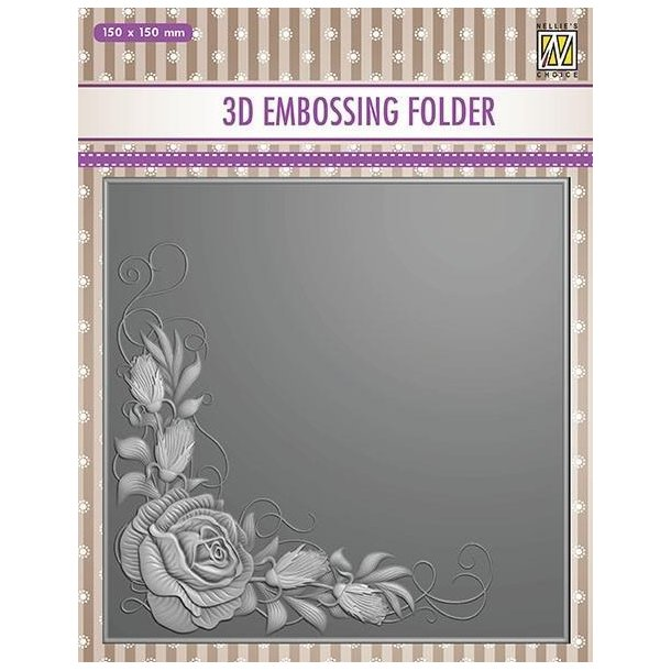 Nellie Snellen Embossing Folder EF3D012 - Rose Corner