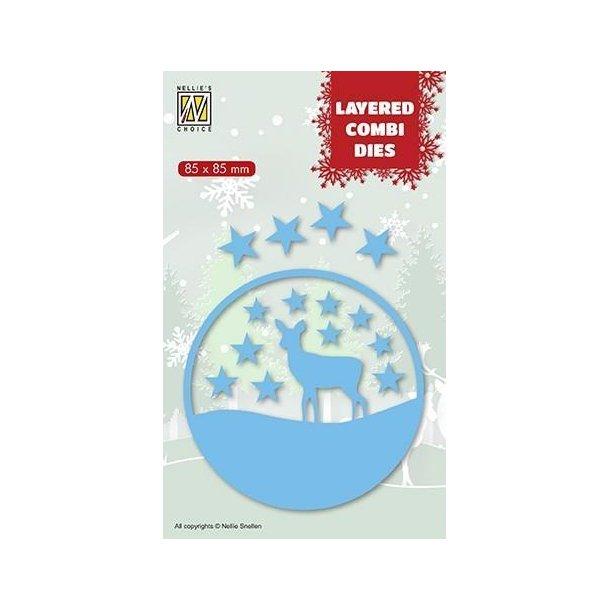 Nellie's Layered Combi Dies - Christmas Deer - C - LCDCD003