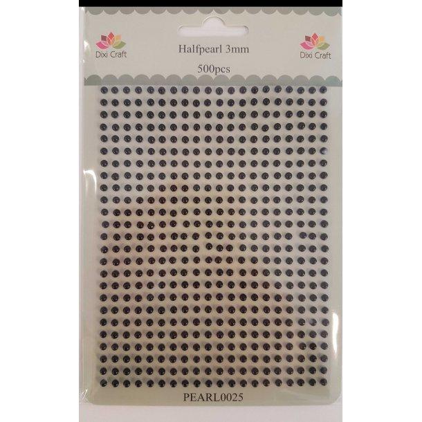 Dixi Craft Halvperler 3mm PEARL0025 - Sort