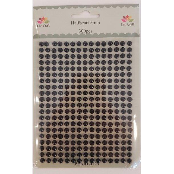 Dixi Craft Halvperler 5mm PEARL0125 - Sort