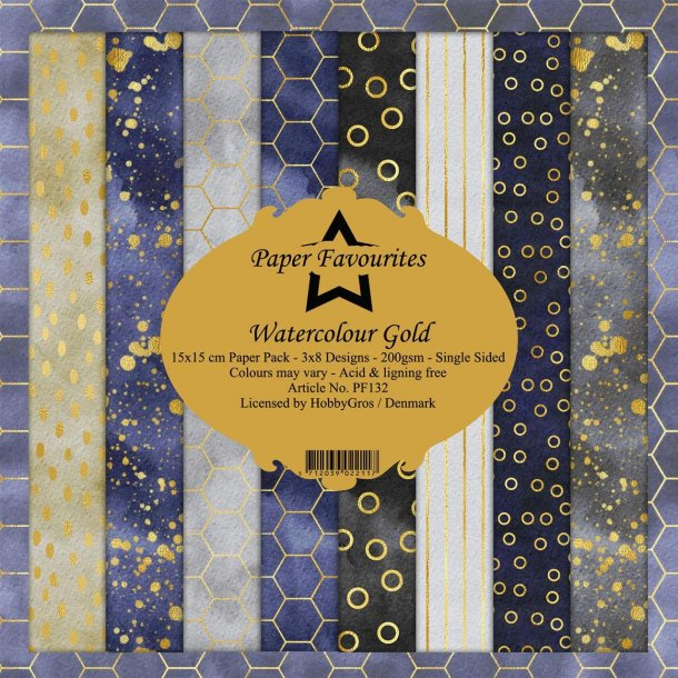 Paper Favourites Paper Pack 15x15 - PF132 - Watercolour Gold